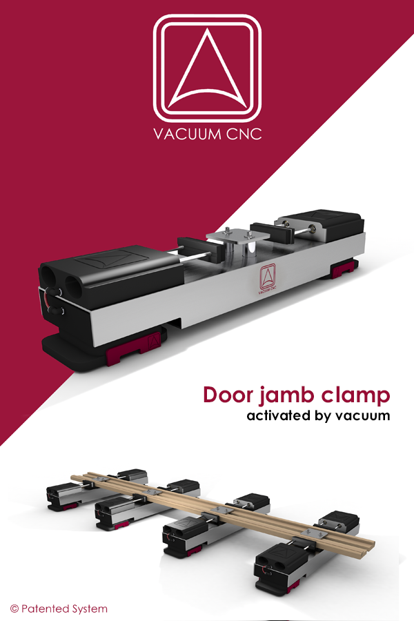 Door jamb clamp for cnc machines, activated by vacuum